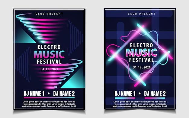 Couvrir l'arrière-plan de conception de flyer affiche musique avec effet de lumière coloré