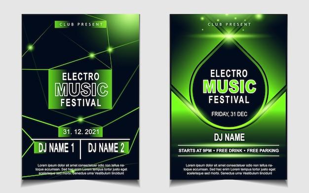 Couvrir l'arrière-plan de conception de flyer affiche musique avec effet de lumière verte