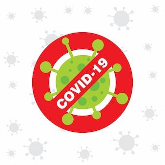 Covid 19 affiche avec l'icône du virus