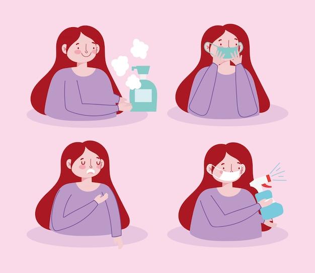Covid 19 conseils de prévention soins spray désinfecter la couverture de masque médical bouche