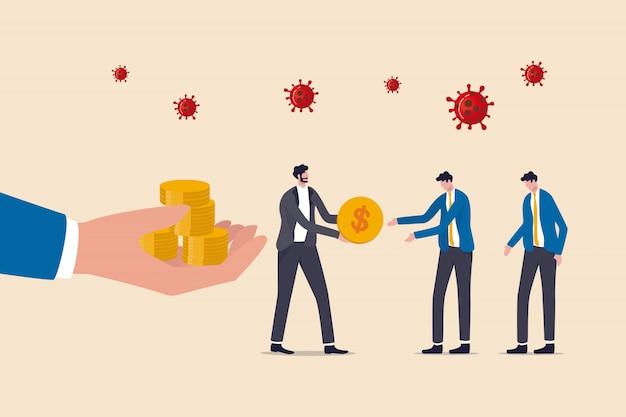 Covid-19 coronavirus épidémie crise financière aide politique, gouvernement aide à payer le salaire, homme d'affaires entrepreneur gestionnaire prend l'argent du gouvernement donne le salaire aux employés, virus pathogène.