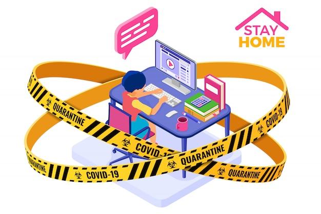Covid-19 coronavirus quarantine stay home education en ligne