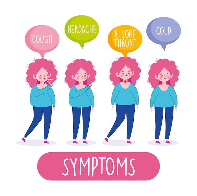 Covid 19 infographie de coronavirus, symptômes de la femme toux maux de tête un mal de gorge et illustration froide