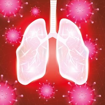 Covid 19 particules avec des poumons de fond de campagne