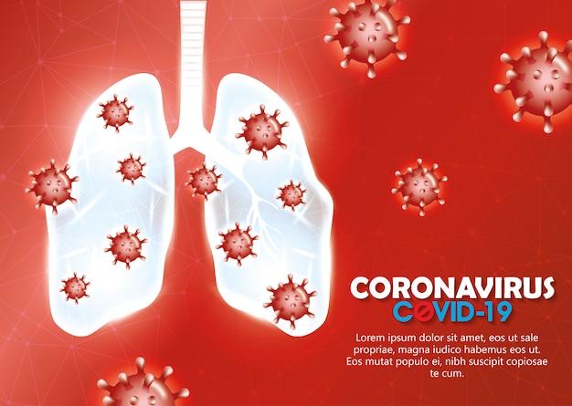 Covid 19 particules avec poumons et lettrage de fond de campagne