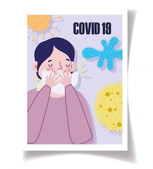 Covid 19 prévention homme symptômes toux couverture bouche avec du papier de soie