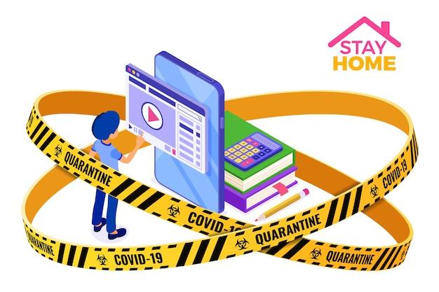 Covid-19 quarantaine rester à la maison éducation en ligne ou examen à distance avec caractère isométrique