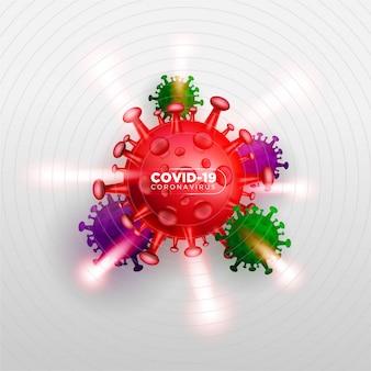 Covid coronavirus en concept d'illustration 3d réel pour décrire une attaque de virus corona