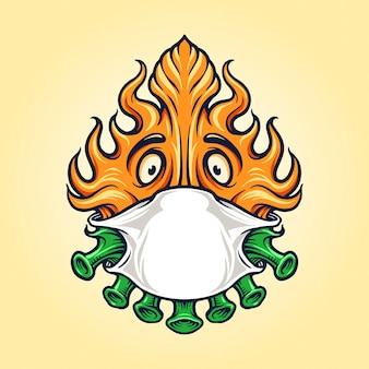 Covid fire avec masque pour logo mascotte