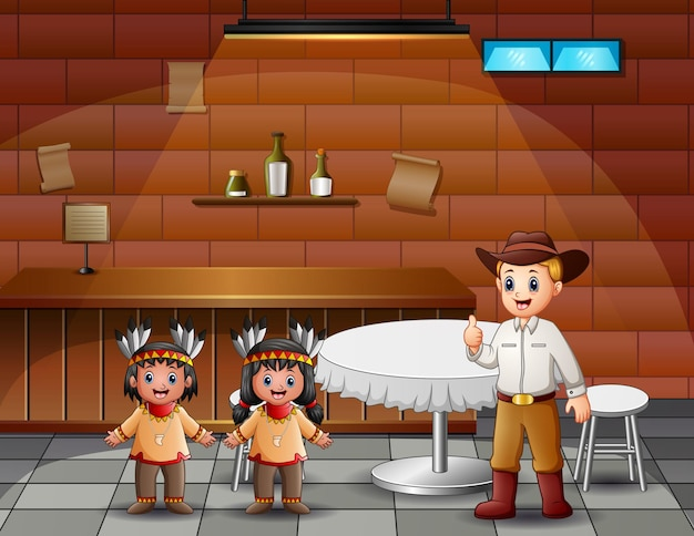 Un cow-boy masculin avec des enfants indiens au café