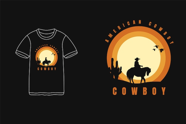 Cowboy américain, t-shirt typographie texte siluet cowboy horse cactus