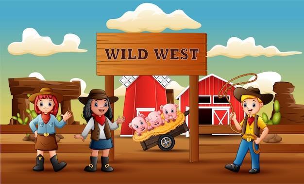 Cowboy cartoon ouest sauvage avec animal dans l'entrée de la ferme