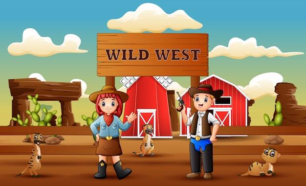 Cowboy cartoon ouest sauvage avec suricates à la ferme