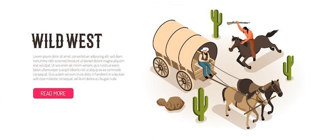 Cowboy en chariot et indien américain à cheval avec fusil bannière horizontale isométrique blanc