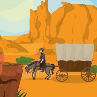 Cowboy à cheval avec chariot