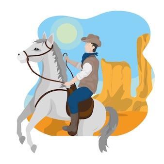 Cowboy à cheval dans le désert