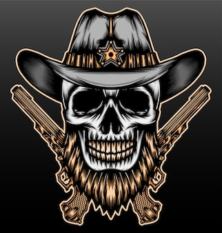 Cowboy de crâne barbu cool.