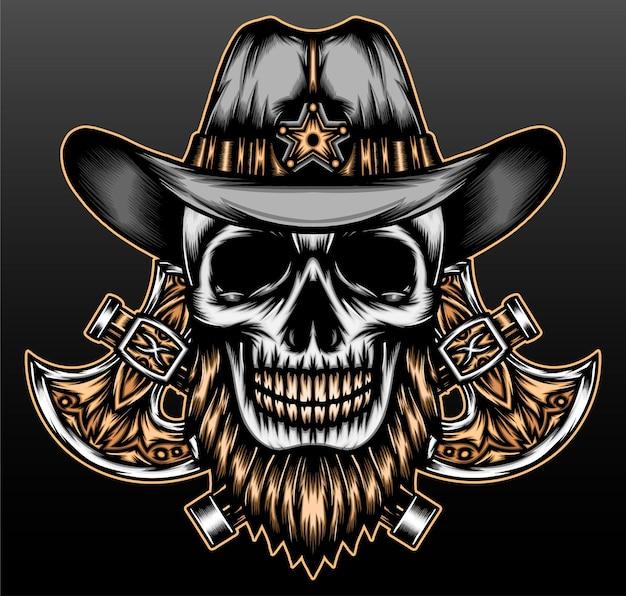Cowboy crâne barbu mort isolé sur fond noir