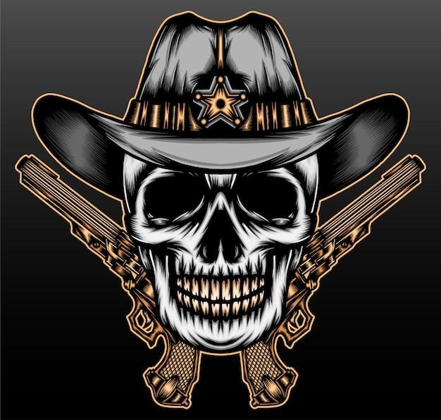 Cowboy de crâne cool isolé sur noir