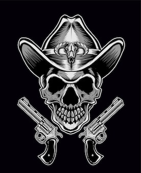 Cowboy crâne avec deux armes à feu