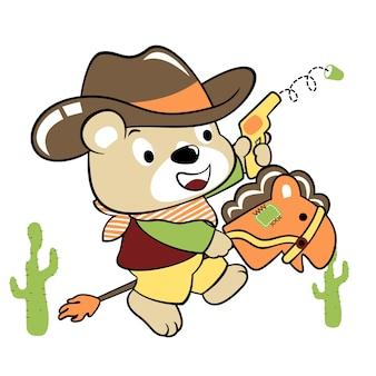 Cowboy drôle, dessin animé de vecteur