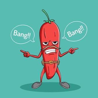 Cowboy drôle de poivron rouge avec style doodle