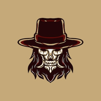 Cowboy effrayant pour mascotte, logo ou autre