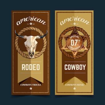 Cowboy flyer avec crâne de vache, insigne, corde