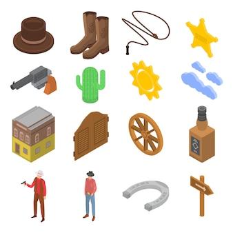 Cowboy icons set, style isométrique