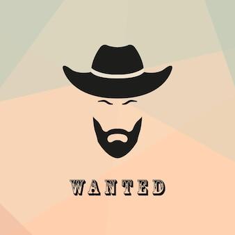 Cowboy recherché avec une barbe et une moustache