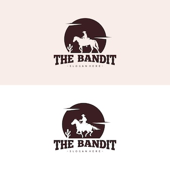Cowboy riding horse silhouette at night logo