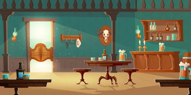 Cowboy saloon western retro bar vide intérieur