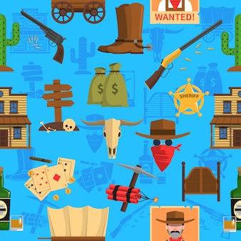 Cowboy seamless pattern