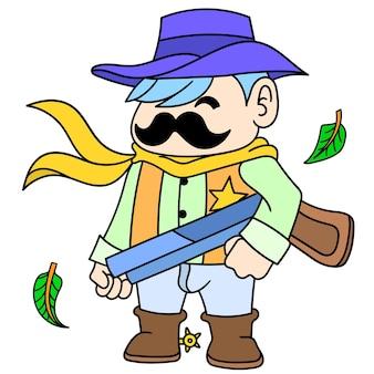 Un cowboy serif avec une moustache épaisse portant un fusil de chasse, doodle dessiner kawaii. illustration vectorielle