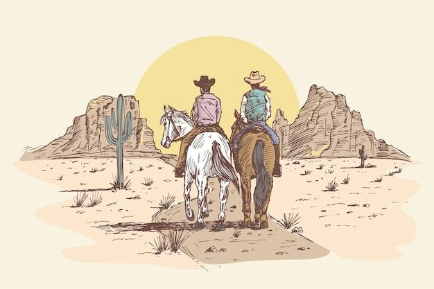 Cowboys dessinés à la main à cheval