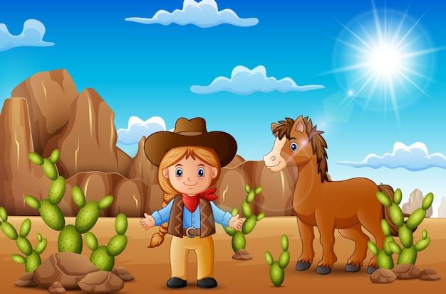 Cowgirl heureux de dessin animé avec cheval dans le désert