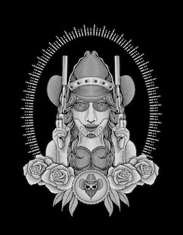 Cowgirl mexicaine avec illustration de deux armes à feu