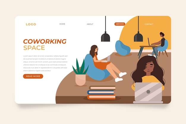 Coworking et collègues de page de destination dessinée à la main