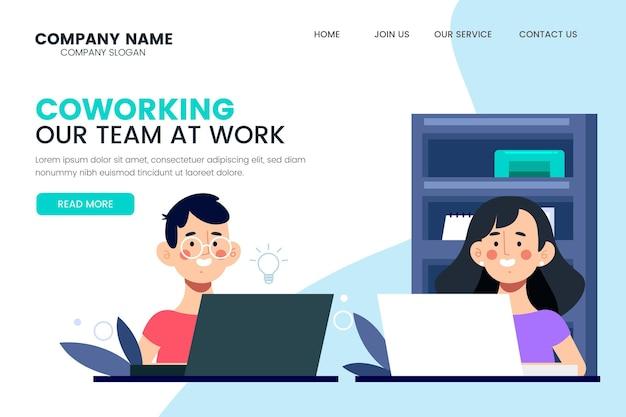 Coworking notre équipe au travail page de destination
