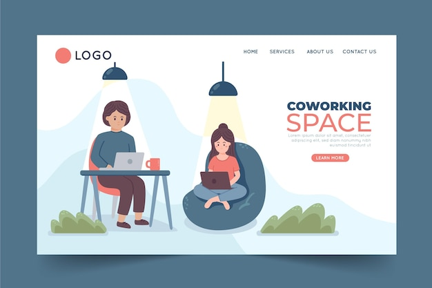 Coworking de page de destination dessinée à la main