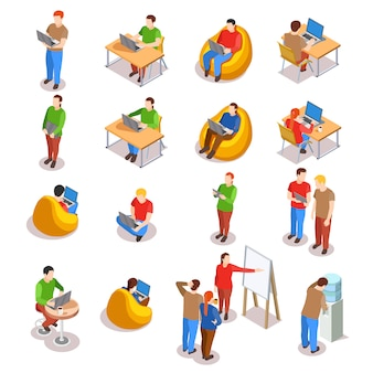 Coworking people icon set