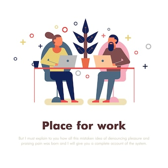 Coworking personnes avec place pour le travail et les symboles de l'ordinateur portable à plat