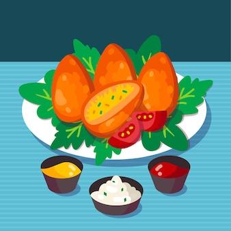 Coxinhas dessinés à la main sur une assiette avec des sauces