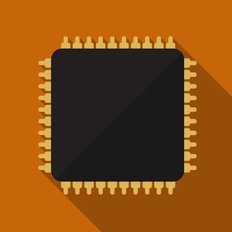 Cpu plat icône illustration isolé vecteur signe symbole
