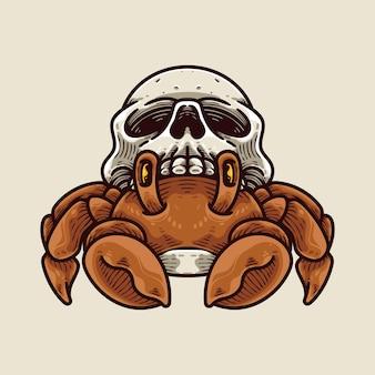 Crabe et crâne coquille