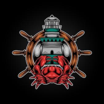 Crabe dans l & # 39; illustration du phare