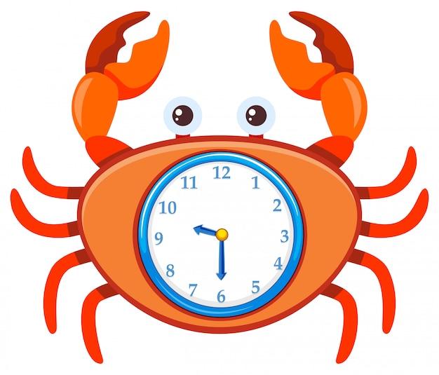 Crabe de dessin animé sur le modèle d'horloge