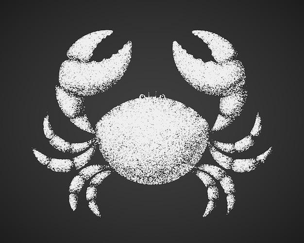 Crabe. dessin à la craie sur tableau noir