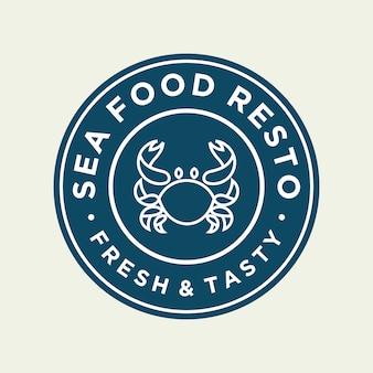 Crabe de fruits de mer pour la création de logo de ligne de restaurant