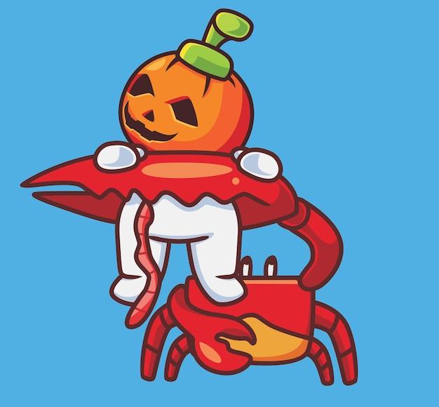 Crabe géant mignon tue le costume de citrouille dessin animé isolé illustration d'halloween style plat